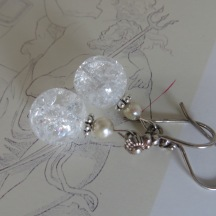 Bergkristal en zilveren Zeeuwse knoop oorbellen