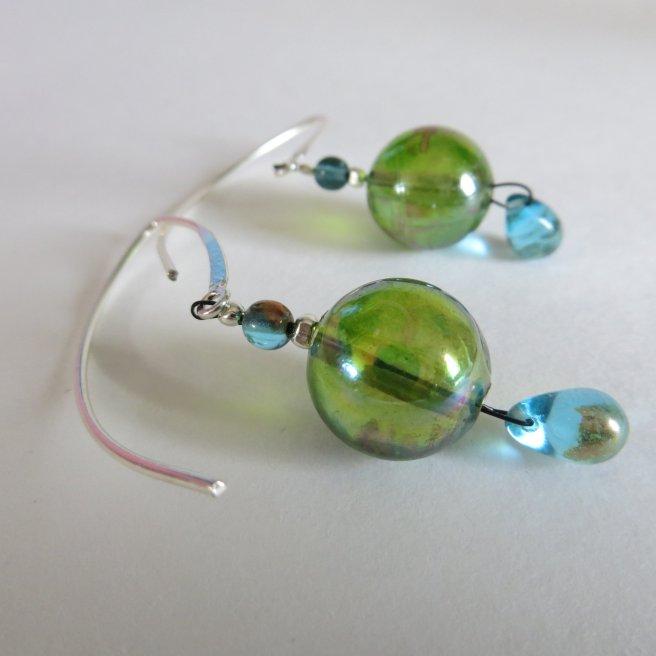 kristal glas zilveren oorbellen