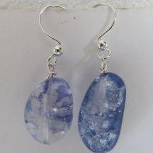 Handgeblazen blauwe zilveren oorbellen