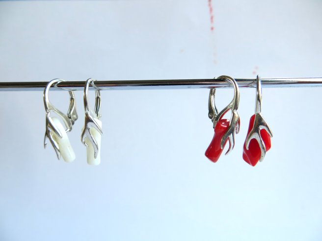 Coral Raw earrings Red White (6)